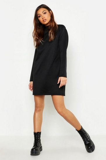 Womens Black Funnel Neck Long Sleeve Sweatshirt Dress