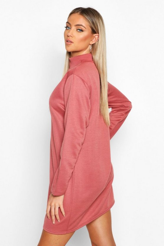 Funnel Neck Long Sleeve Sweatshirt Dress