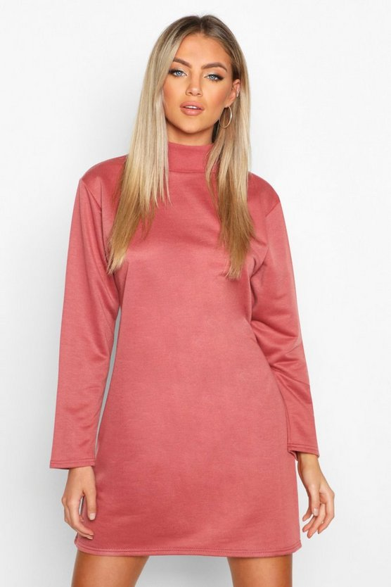 Dusty rose Funnel Neck Long Sleeve Sweatshirt Dress