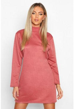 Womens Dusty rose Funnel Neck Long Sleeve Sweatshirt Dress