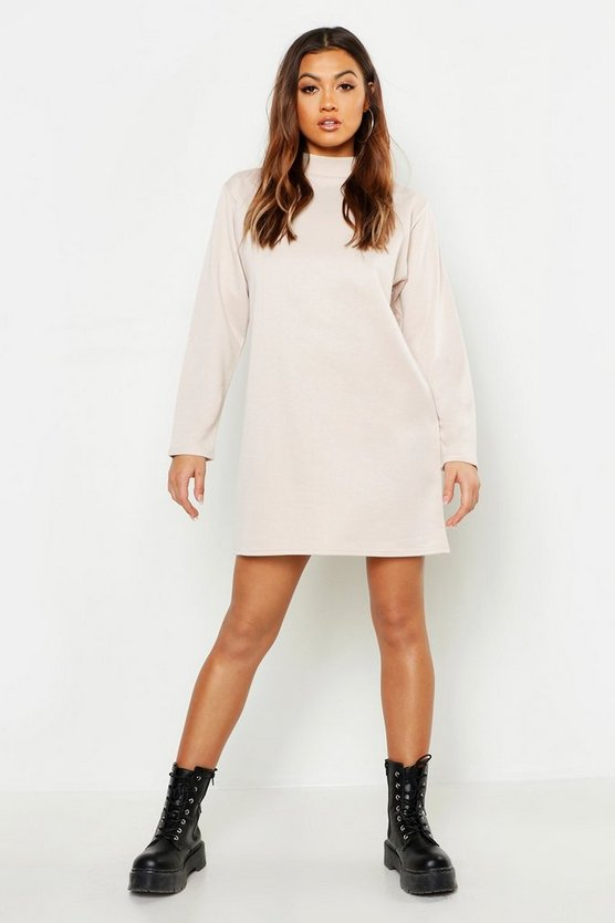 Womens Ecru Funnel Neck Long Sleeve Sweatshirt Dress