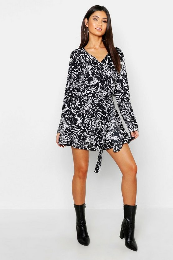 Mixed Animal Print Wrap Front Mini Dress