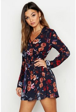 Black Floral Wrap Front Mini Dress