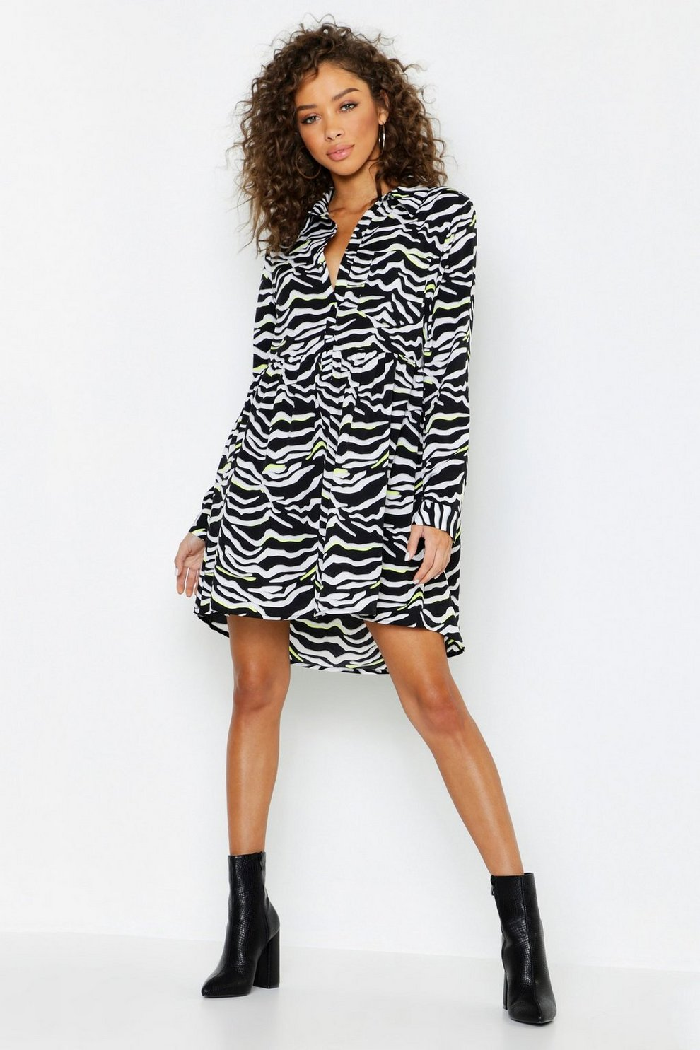b8cd0613632067 Zebra Print Shirt Dress