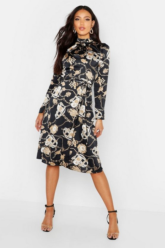 Chain Print Keyhole Back Midi Dress