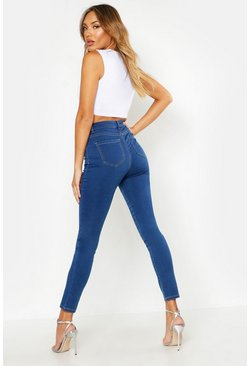 Womens Blue All Sizes High Rise Stretch Jeggings