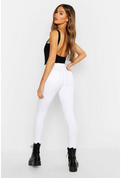 Womens White Mid Rise Buttshaper Stretch Skinny Jeans
