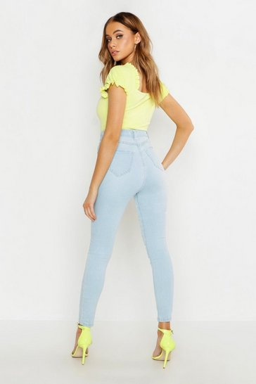 Womens Light blue Mid Rise Buttshaper Stretch Skinny Jeans