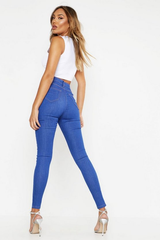Blue Mid Rise Buttshaper Stretch Skinny Jeans