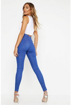 Womens Blue Mid Rise Buttshaper Stretch Skinny Jeans