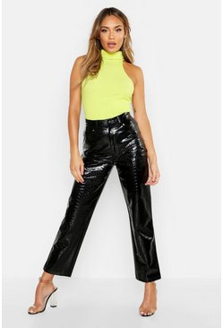 Womens Black High Rise Mock-Croc PU Straight Leg Jeans