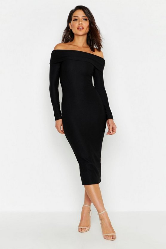 Womens Black Off Shoulder Fold Over Rib Bodycon Midi Dress