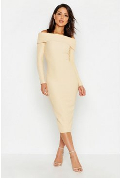 Womens Ecru Off Shoulder Fold Over Rib Bodycon Midi Dress