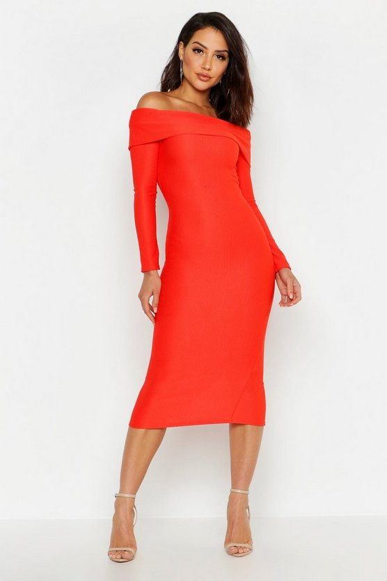 Womens Red Off Shoulder Fold Over Rib Bodycon Midi Dress