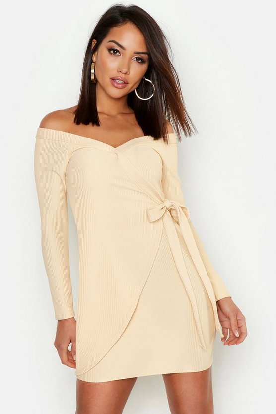Off The Shoulder Wrap Rib Bodycon Mini Dress