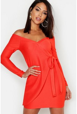Womens Red Off The Shoulder Wrap Rib Bodycon Mini Dress
