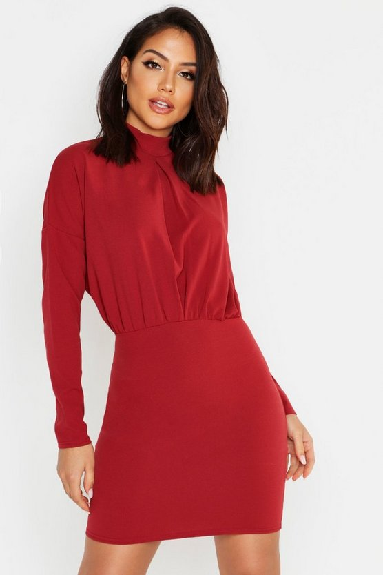 Womens Rust High Neck Crepe Mini Bodycon Dress