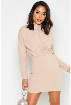 Womens Stone High Neck Crepe Mini Bodycon Dress