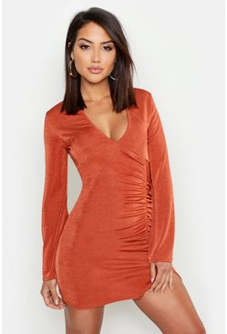 Womens Rust Textured Slinky Ruched Flared Sleeve Dress