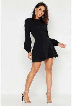 Womens Black Bust Detail Blouson Sleeve Skater Dress