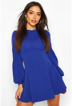 Cobalt Bust Detail Blouson Sleeve Skater Dress