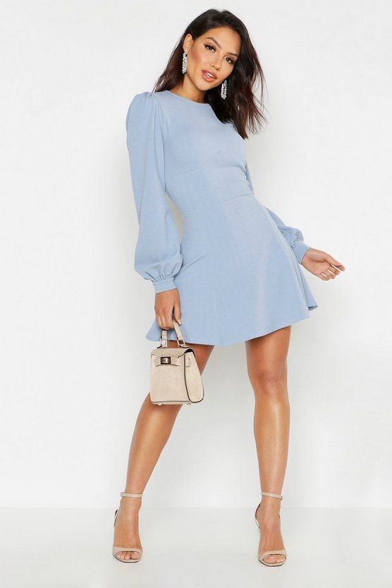 Womens Dusty blue Bust Detail Blouson Sleeve Skater Dress