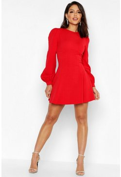 Womens Red Bust Detail Blouson Sleeve Skater Dress