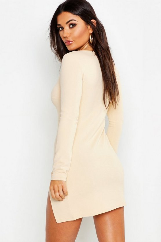 Long Sleeve Knot Side Detail Bodycon Dress