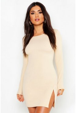 Womens Ecru Long Sleeve Knot Side Detail Bodycon Dress
