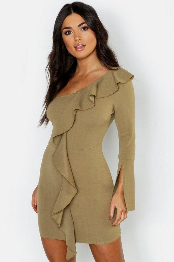 Womens Sage One Sleeve Ruffle Detail Bodycon Dress