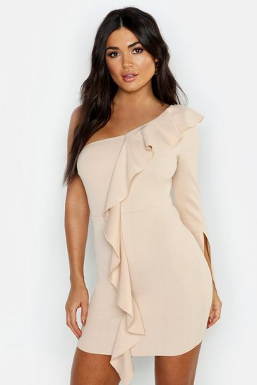 Womens Stone One Sleeve Ruffle Detail Bodycon Dress