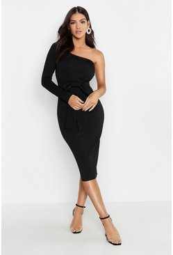 Womens Black Bow Detail One Sleeve Midi Dress