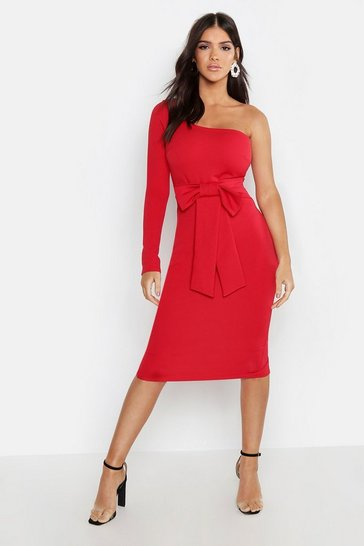 Womens Red Bow Detail One Sleeve Midi Dress