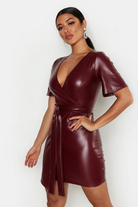 PU Belted Bodycon Dress