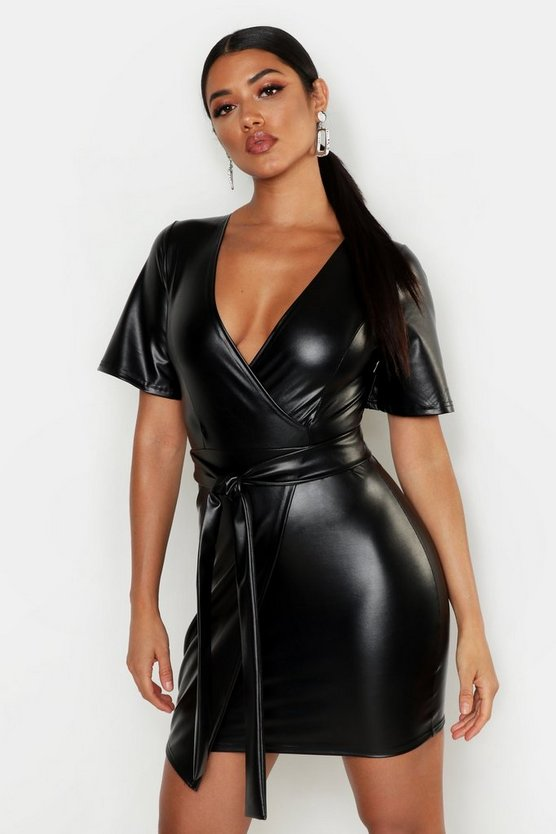 Womens Black PU Belted Bodycon Dress