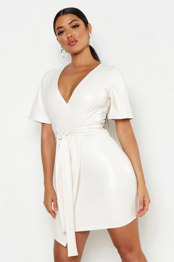 Womens Ivory PU Belted Bodycon Dress