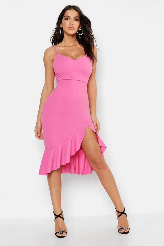 Womens Fushia Strappy Frill Hem Midi Dress