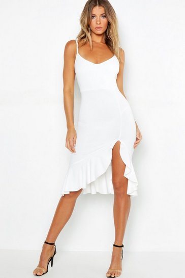Womens Ivory Strappy Frill Hem Midi Dress