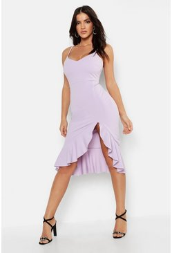 Lilac Strappy Frill Hem Midi Dress