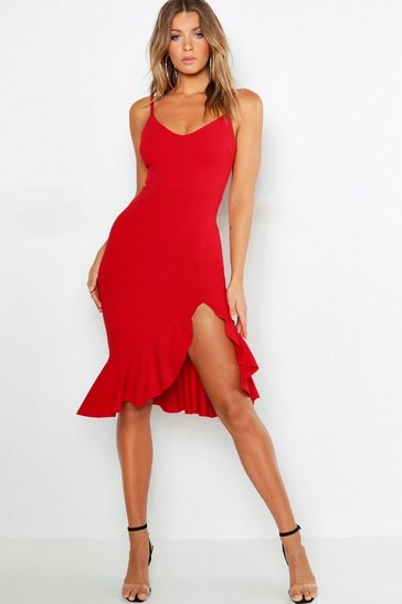 Red Strappy Frill Hem Midi Dress