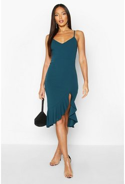 Teal Strappy Frill Hem Midi Dress
