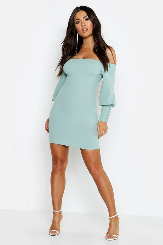 Off The Shoulder Puff Button Sleeve Bodycon Dress