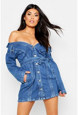 Womens Mid blue Off The Shoulder Belted Denim Dress