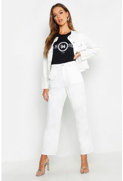 Ecru High Rise Contrast Stitch Wide Leg Jeans