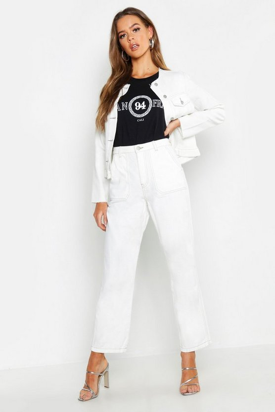 High Rise Contrast Stitch Wide Leg Jeans