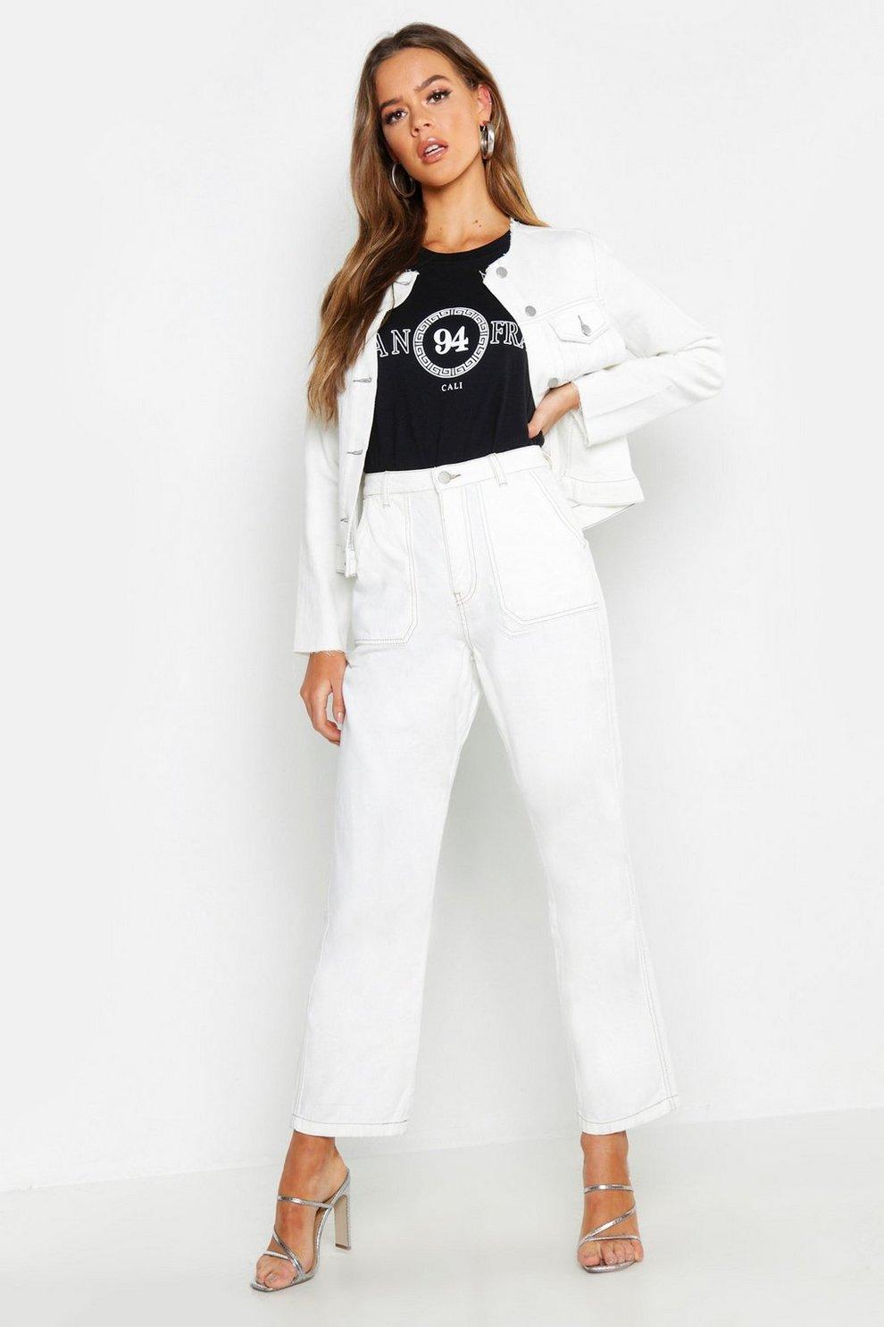 065a2fd581b5 High Rise Contrast Stitch Wide Leg Jeans | Boohoo