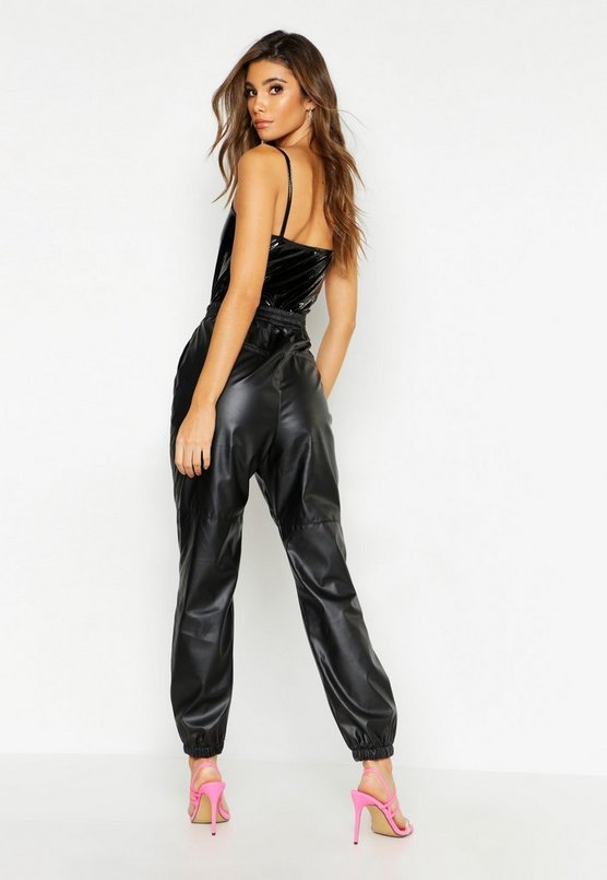 High Rise Leather Look Utility Jean