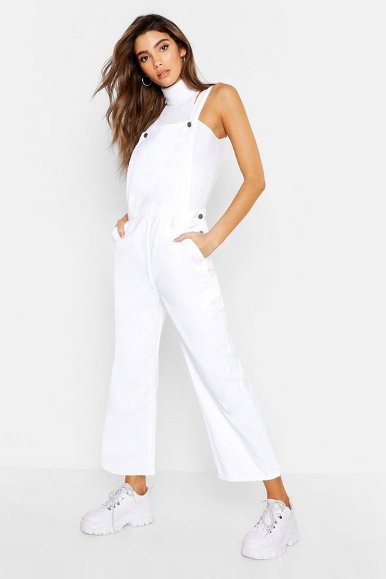 Womens White Wide Leg Denim Dungaree