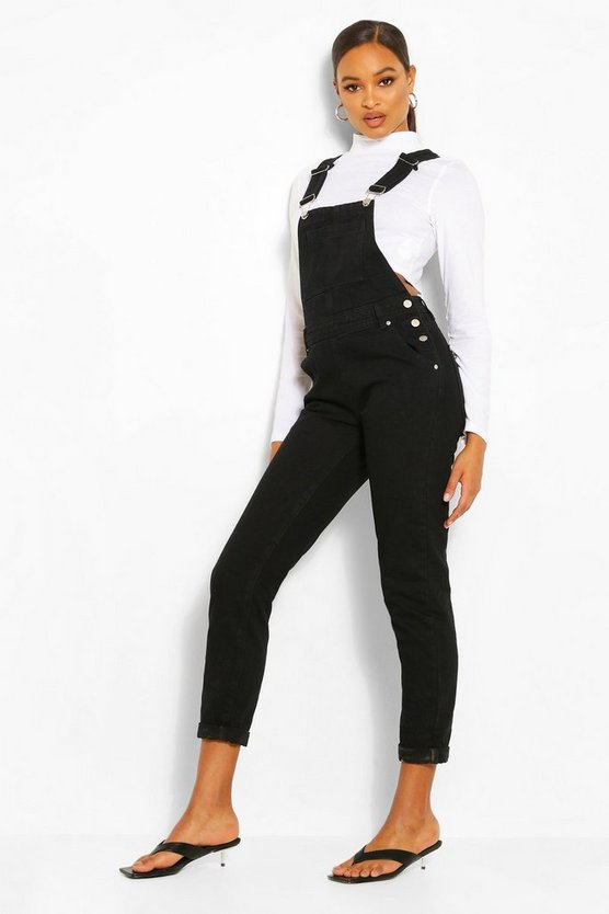 Womens Black Boyfriend Denim Overall