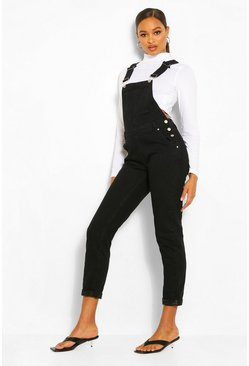 Womens Black Boyfriend Denim Dungaree